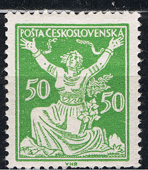 Postage stamps and postal history of Czechoslovakia - 1920 50 heller Chainbreaker stamp