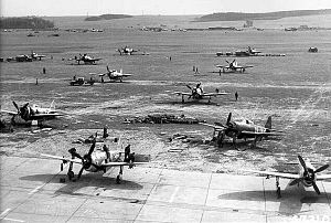 RAF Ibsley - P-47Ds of the 48th Fighter Group at an advanced landing ground