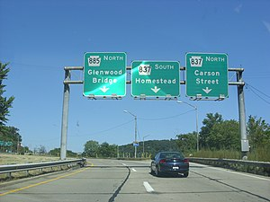 Pennsylvania Route 885 - PA 885 interchange with PA 837 in Pittsburgh.