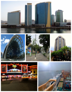 Port of Spain - Top to bottom (left to right): Skyline of Port of Spain from Gulf of Paria; National Academy for the Performing Arts, Independence Square, Eric Williams Plaza; MovieTowne, Port of Port of Spain City