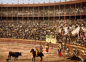 Bullfight in Barcelona, Spain.
