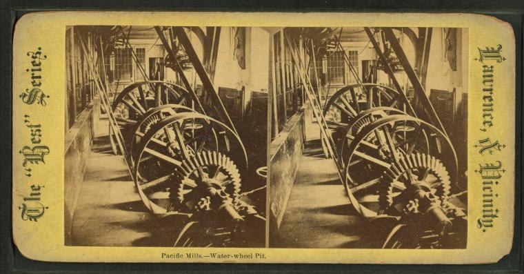 Pacific mills--water wheel pit, from Robert N. Dennis collection of stereoscopic views