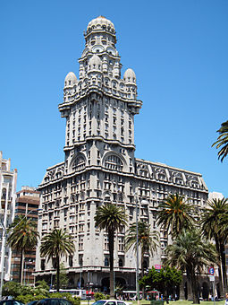 Palacio Salvo, built in Montevideo from 1925 to 1928, was once the tallest building in Latin America. Palaciosalvouruguay.jpg