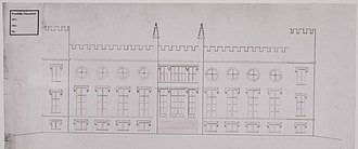 City Hall of Tilburg - Façade of the palace on a draft of the palace around 1845.
