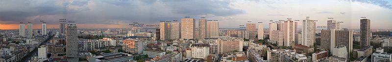 Panoramatický pohled na výškové stavby postavené v rámci projektu Italie 13