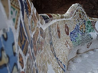 Park Güell - Gaudí's mosaic work on the main terrace