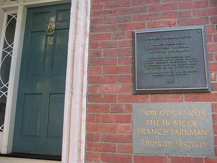 These historical markers indicate the location of Francis Parkman House, a National Historic Landmark on Beacon Hill in Boston, Massachusetts. ParkmanHouse.jpg
