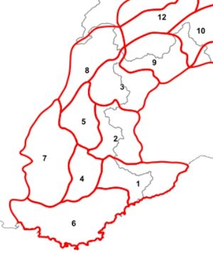 Western Alps - The eight Western Alps sections (1-8) according to the Partizione delle Alpi