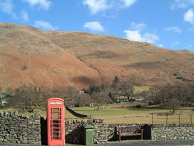 Patterdale village with Place Fell behind