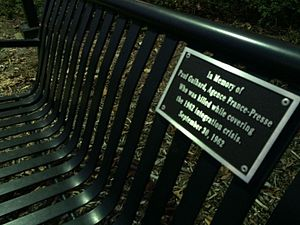 Murder of Paul Guihard - A bench on the University of Mississippi campus dedicated to Guihard