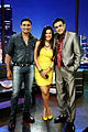 Payal Rohatgi & Sangram Singh with Sumeet Raghavan on the sets of Jay Hind show 01.jpg