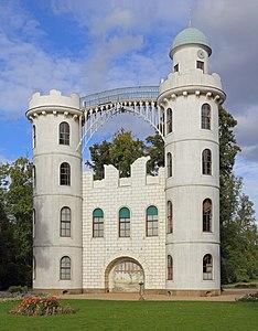 Das Schloss auf der Pfaueninsel, Ansicht von Südwesten