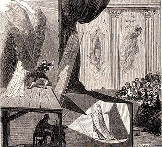 Henry Beaufoy Merlin - Pepper's Ghost stage set up, 1862, Le Monde Illustré