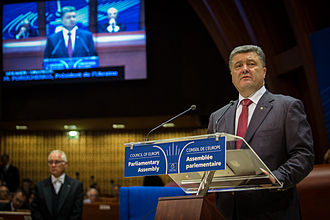 Petro Poroshenko - Poroshenko delivers a speech to the Council of Europe parliamentary assembly in Strasbourg, 26 June 2014.