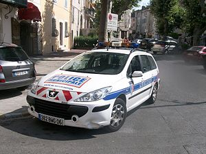 Municipal Police (France) - Police municipale Peugeot car in Antibes, Provence-Alpes-Côte d'Azur.