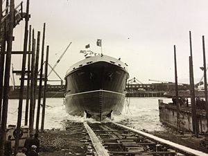 MV Peveril (1963) - Peveril is launched at Troon, Tuesday, 3 December 1963.