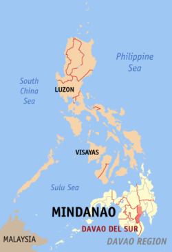 Map of the Philippines with Davao del Sur highlighted
