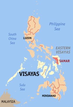 Map of the Philippines with Samar highlighted