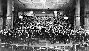 Philadelphia Orchestra - The Philadelphia Orchestra on stage with Stokowski for the American premiere of Mahler's Eighth Symphony, March 2, 1916.