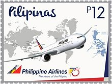 A Commemorative Stamp Of The 75th Anniversary Of Philippine Airlines Issued In 2016
