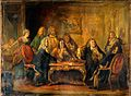 Physicians disputing while the patient suffers. Oil painting Wellcome V0017261.jpg