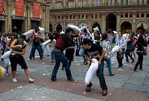 Pillow fight - A public pillow fight in Bologna, Italy