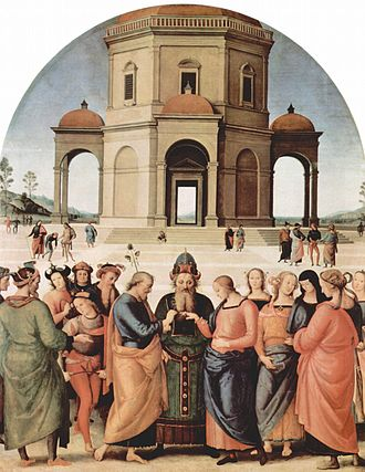 The Marriage of the Virgin (Raphael) - This version of the theme by Pietro Perugino is believed to have been Raphael's inspiration.