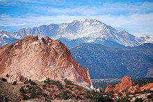 Photograph of Pikes Peak, as seen from the Garden of the Gods