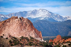 Mineralogy of the Pikes Peak Region - Pikes Peak seen from the Garden of the Gods.