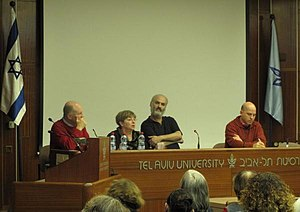 Ram Loevy - Loevy (left) at a symposium in Tel Aviv University at which he delivered a talk on The Film that Wasn't.