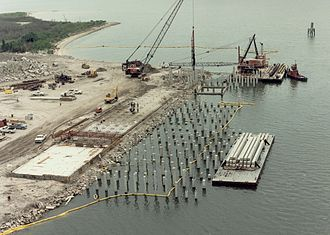 Deep foundation - Pile driving operations in the Port of Tampa, Florida, United States.