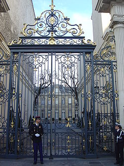 the entrance to the ministry in place beauvau is guarded by one gendarme left and one policewoman right joint gendarmeriepolice guard duty was seen as