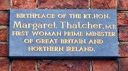 Photograph Of Plaque Reading Birth Place The RtHon Margaret Thatcher