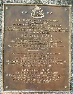 Ezekiel Hart - Image: Plaque Ezekiel Hart 1