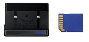 Game Boy accessories - The Play-Yan with an SD memory card.