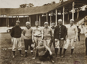 1907 Boston Americans season - 1907 spring training in Little Rock, Arkansas.  Player-manager Cy Young is second from the right.