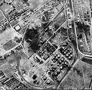 Operation Tidal Wave - Columbia Aquila refinery after the bombing, with bomb craters, largely intact