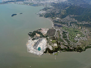 San Rafael Bay - San Rafael Bay. Areas shown include the San Rafael rock quarry, Peacock Gap Golf and Country Club (right center), China Camp State Park (right rear) on Point San Pedro, along with the city of San Rafael (behind the point), and Marin Islands (left rear).