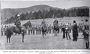 Arthur Pole Penton - Pole Penton aloft a horse (right) delivering an address to departing member of the Second New Zealand Contingent that was about to depart for the Second Boer War in 1900