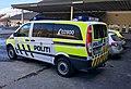 Police cars politibiler Volkswagen Passat patruljebil Mercedes-Benz Vito Fargernes lensmannskontor Jernbanevegen Nord-Aurdal Valdres Norway 2017-03-27 IMG 2177.jpg