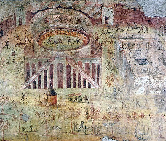 Wall painting depicting a sports riot at the amphitheatre of Pompeii, which led to the banning of gladiator combat in the town Pompeii - Battle at the Amphitheatre - MAN.jpg