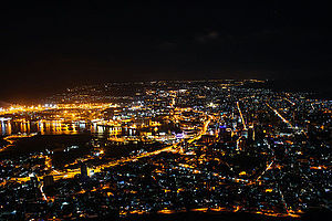 Port Louis - Aerial view of the city, including the port, at night