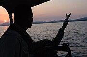 A Coast Guard Port Security Unit 307 (PSU 307) protecting the port at Guantanamo Bay, Cuba.