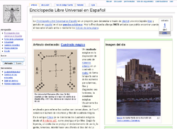 A screenshot of Enciclopedia Libre includes a panel to navigate users around the site, a welcome message, and a picture of a featured article
