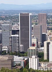 Wells Fargo Center in Portland (center) is slightly taller than US Bancorp Tower (right).