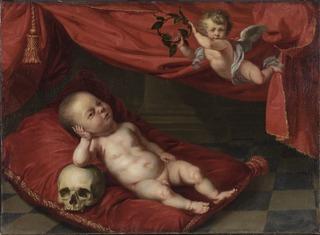 Porträtt av avliden gosse med vanitasmotiv