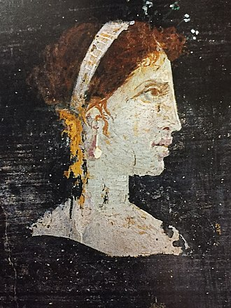 Ptolemaic dynasty - Most likely a posthumous painted portrait of Cleopatra VII of Ptolemaic Egypt with red hair and her distinct facial features, wearing a royal diadem and pearl-studded hairpins, from Roman Herculaneum,  mid-1st century AD