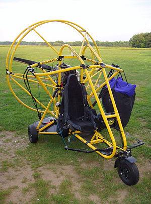 Powered parachute - A powered parachute with its wing stowed.