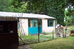 Prefabricated building - A 1950s metal UK prefab at the Rural Life Centre, Tilford, Surrey.