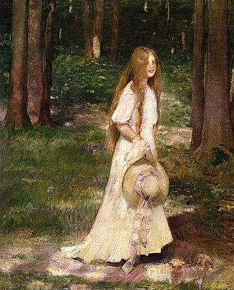 National Association of Women Artists - Edith Mitchill Prellwitz, Early Morning Stroll, circa 1900. Oil on canvas, 76.2 cm x 63.5 cm (30 x 25 in.) Private collection. Artist Edith Mitchill Prellwitz was one of the founders of the  Woman's Art Club of New York.